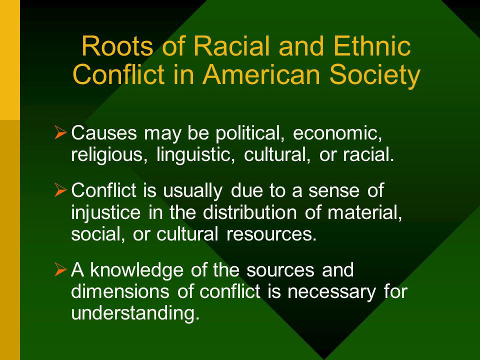 Roots of Racial and Ethnic Conflict in American Society Causes may be political, economic, religious, linguistic, cultural, or racial. Conflict is usu