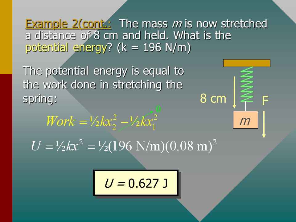 Example 2: A 4-kg mass suspended from a spring produces a displacement of 20 cm. What is the spring constant? F 20 cm m The stretching force is the we