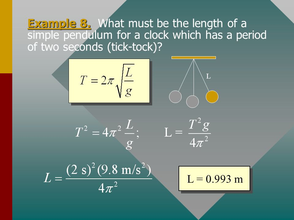 The Simple Pendulum The period of a simple pendulum is given by: mg L For small angles