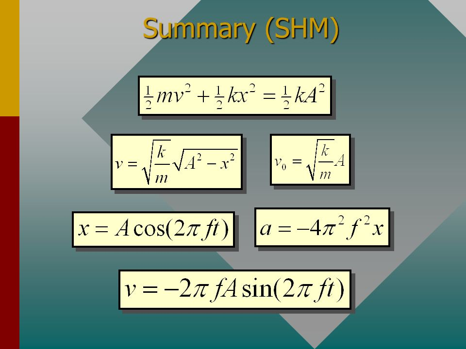 Summary (SHM) m x = 0x = +Ax = -A x v a ½mv A 2 + ½kx A 2 = ½mv B 2 + ½kx B 2 Conservation of Energy: