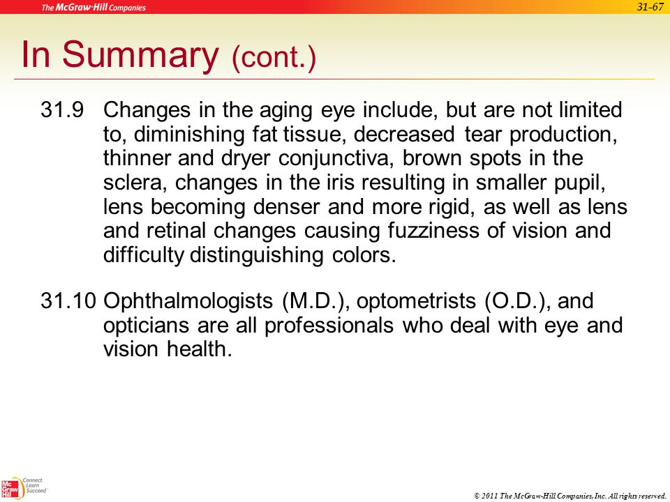 © 2011 The McGraw-Hill Companies, Inc. All rights reserved. 31-66 In Summary (cont.) 31.7The cornea, lens, and fluids focus light on the retina. The r