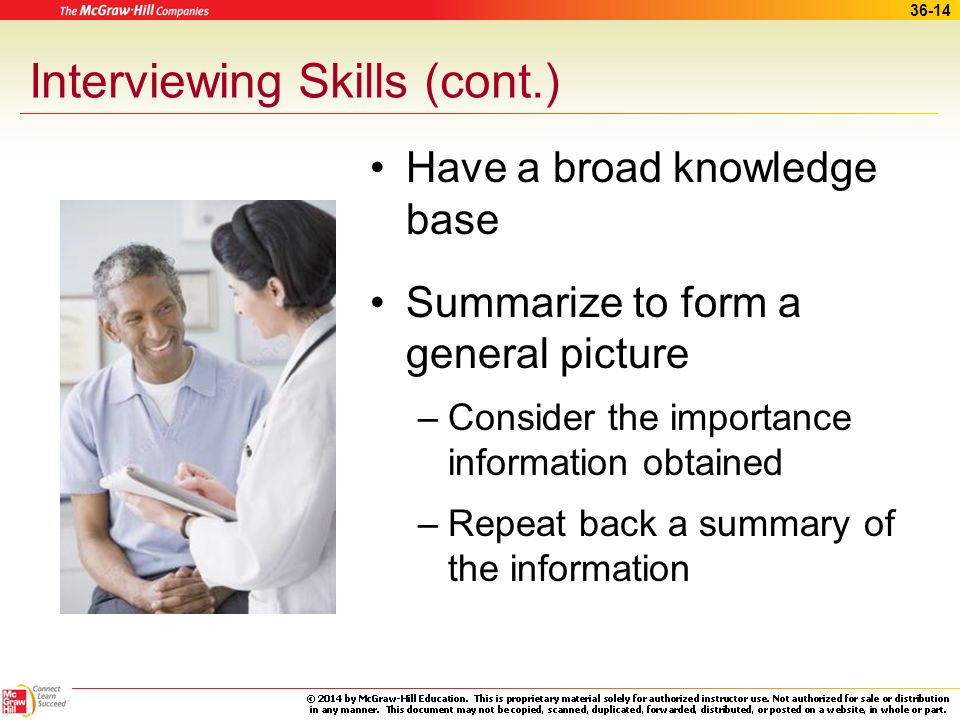 36-13 Interviewing Skills Practice effective listening –Listen for details –General view of situation –Active listening Look at patient Pay attention