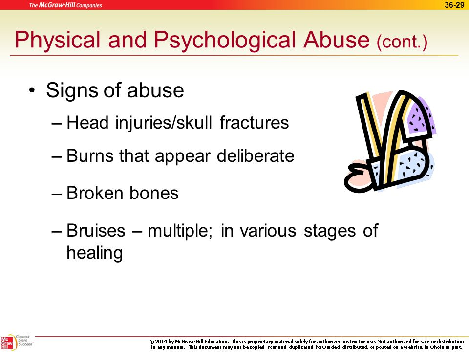 36-28 Physical and Psychological Abuse Physical, psychological, or both Suspect abuse –If the patient speaks in a guarded way –Unlikely explanation fo