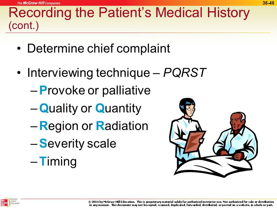 36-45 Recording the Patients Medical History Includes pertinent information –About the patient and patients family medical history –Age, surgical hist