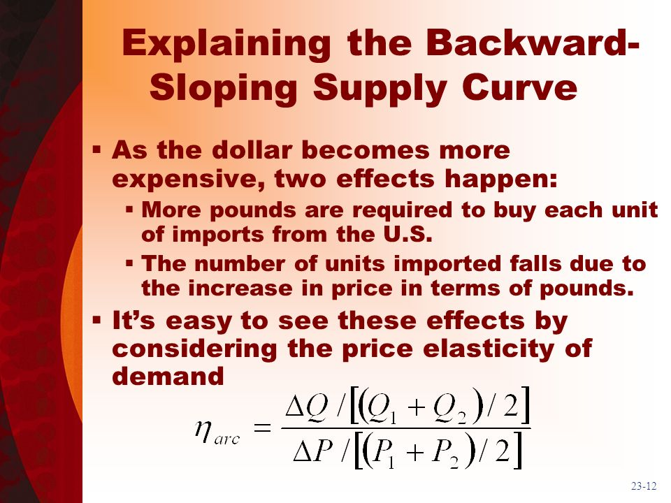 23-12 Explaining the Backward- Sloping Supply Curve As the dollar becomes more expensive, two effects happen: More pounds are required to buy each unit of imports from the U.S.