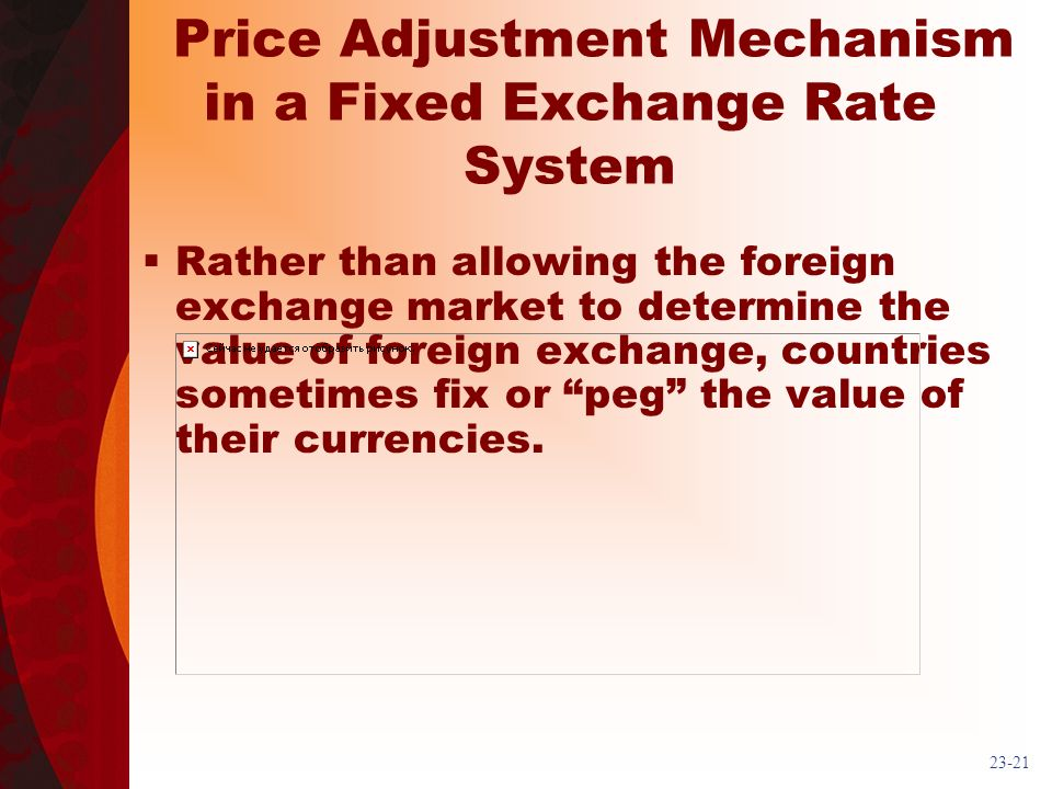 23-21 Price Adjustment Mechanism in a Fixed Exchange Rate System Rather than allowing the foreign exchange market to determine the value of foreign ex