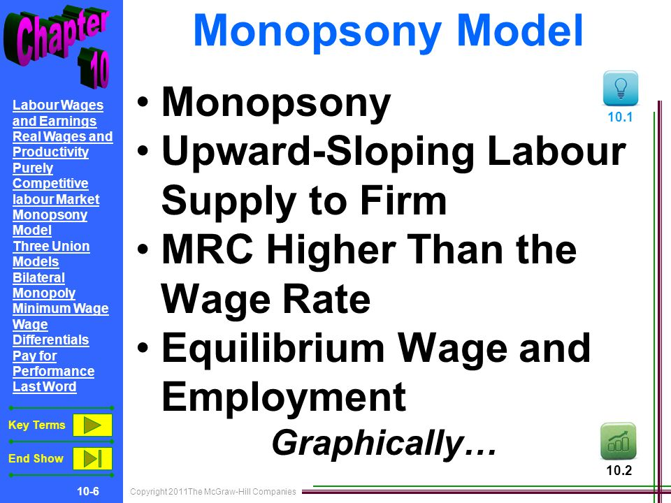 Copyright 2011The McGraw-Hill Companies 10-6 Labour Wages and Earnings Real Wages and Productivity Purely Competitive labour Market Monopsony Model Three Union Models Bilateral Monopoly Minimum Wage Wage Differentials Pay for Performance Last Word Key Terms End Show Monopsony Model Monopsony Upward-Sloping Labour Supply to Firm MRC Higher Than the Wage Rate Equilibrium Wage and Employment Graphically…