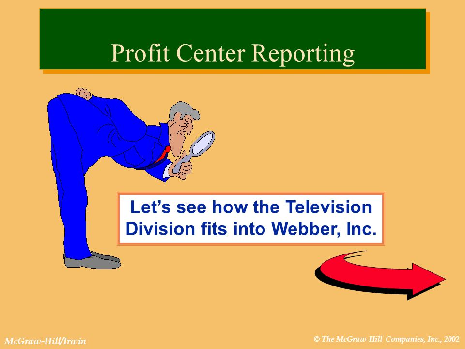 © The McGraw-Hill Companies, Inc., 2002 McGraw-Hill/Irwin Lets see how the Television Division fits into Webber, Inc. Profit Center Reporting
