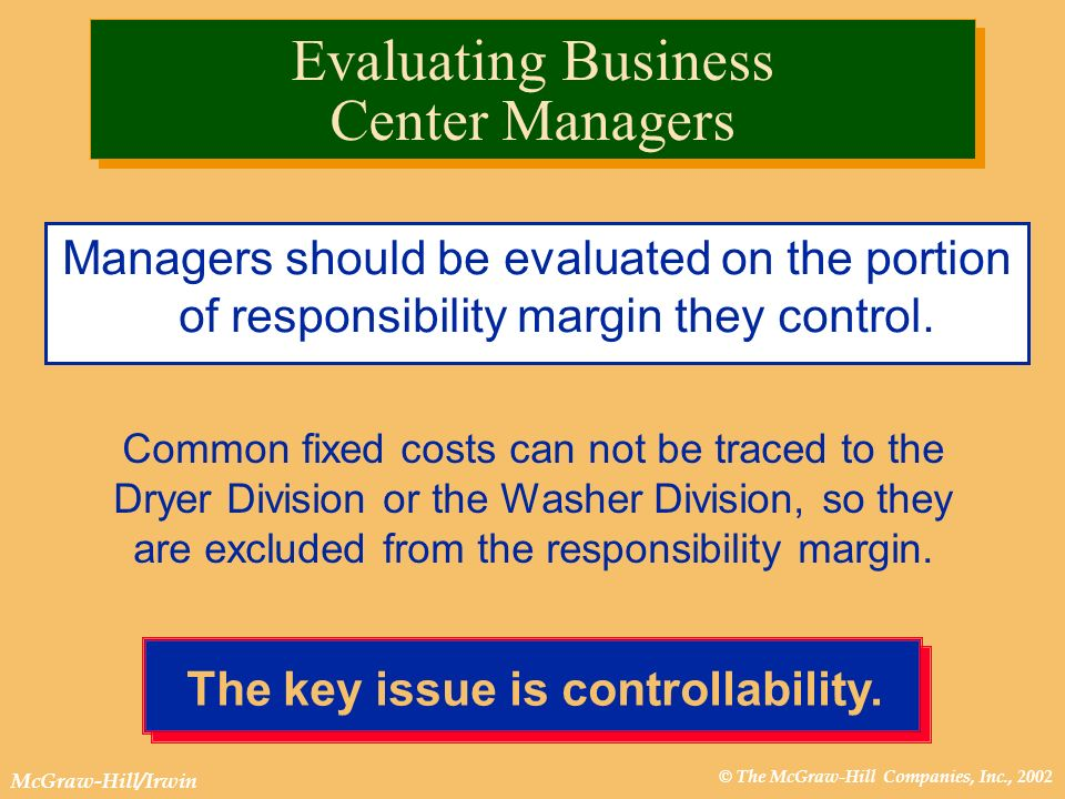 © The McGraw-Hill Companies, Inc., 2002 McGraw-Hill/Irwin The key issue is controllability. Evaluating Business Center Managers Managers should be eva