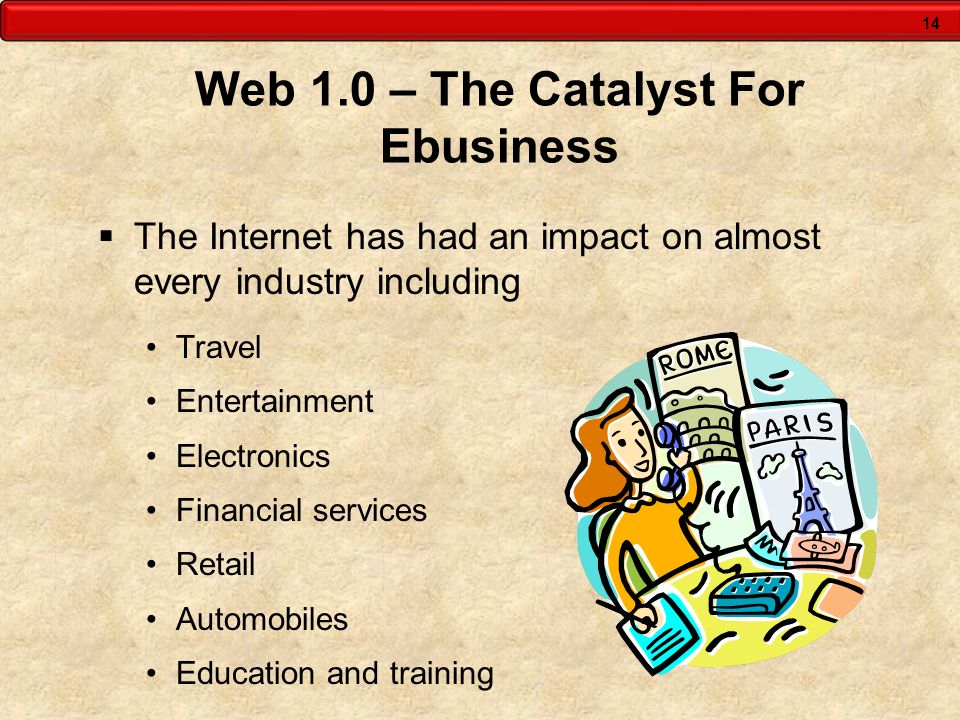 14 Web 1.0 – The Catalyst For Ebusiness The Internet has had an impact on almost every industry including Travel Entertainment Electronics Financial s