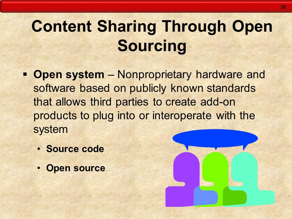 39 Content Sharing Through Open Sourcing Open system – Nonproprietary hardware and software based on publicly known standards that allows third partie
