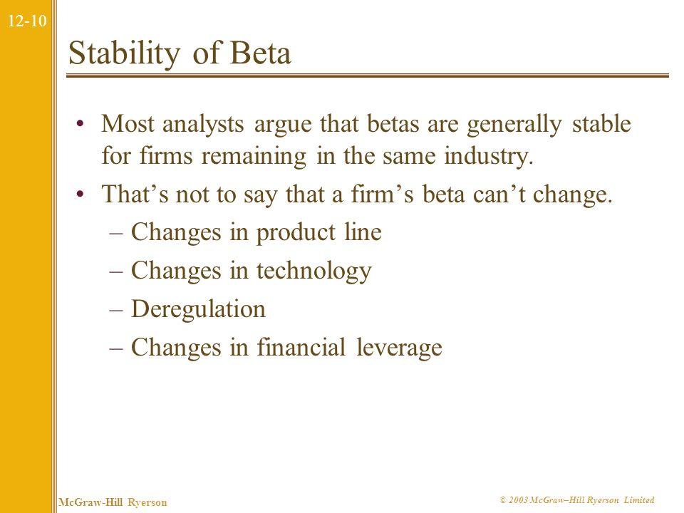 12-9 McGraw-Hill Ryerson © 2003 McGraw–Hill Ryerson Limited 12.2 Estimation of Beta Theoretically, the calculation of beta is straightforward: Problem