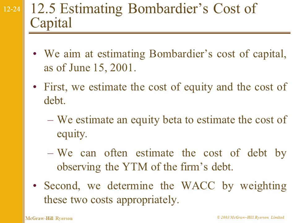 12-23 McGraw-Hill Ryerson © 2003 McGraw–Hill Ryerson Limited The Cost of Capital with Debt The Weighted Average Cost of Capital is given by: It is bec