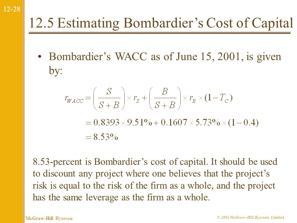 12-27 McGraw-Hill Ryerson © 2003 McGraw–Hill Ryerson Limited 12.5 Estimating Bombardiers Cost of Capital To calculate the cost of capital, we need to