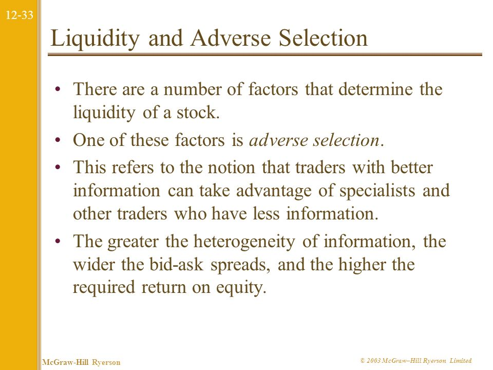 12-32 McGraw-Hill Ryerson © 2003 McGraw–Hill Ryerson Limited Liquidity and the Cost of Capital Cost of Capital Liquidity An increase in liquidity, i.e