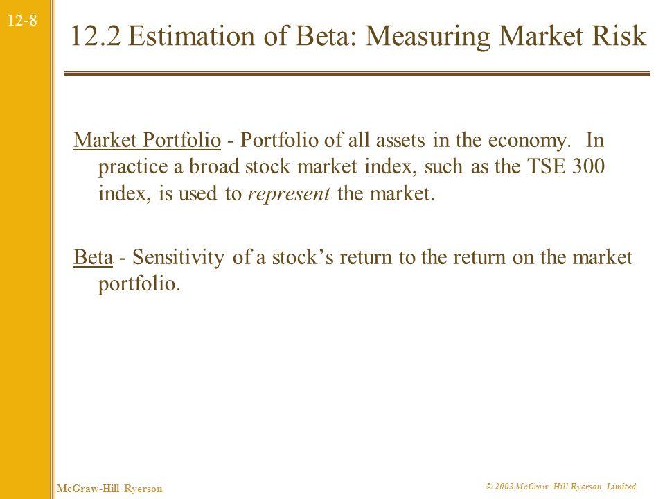 12-8 McGraw-Hill Ryerson © 2003 McGraw–Hill Ryerson Limited 12.2 Estimation of Beta: Measuring Market Risk Market Portfolio - Portfolio of all assets in the economy.