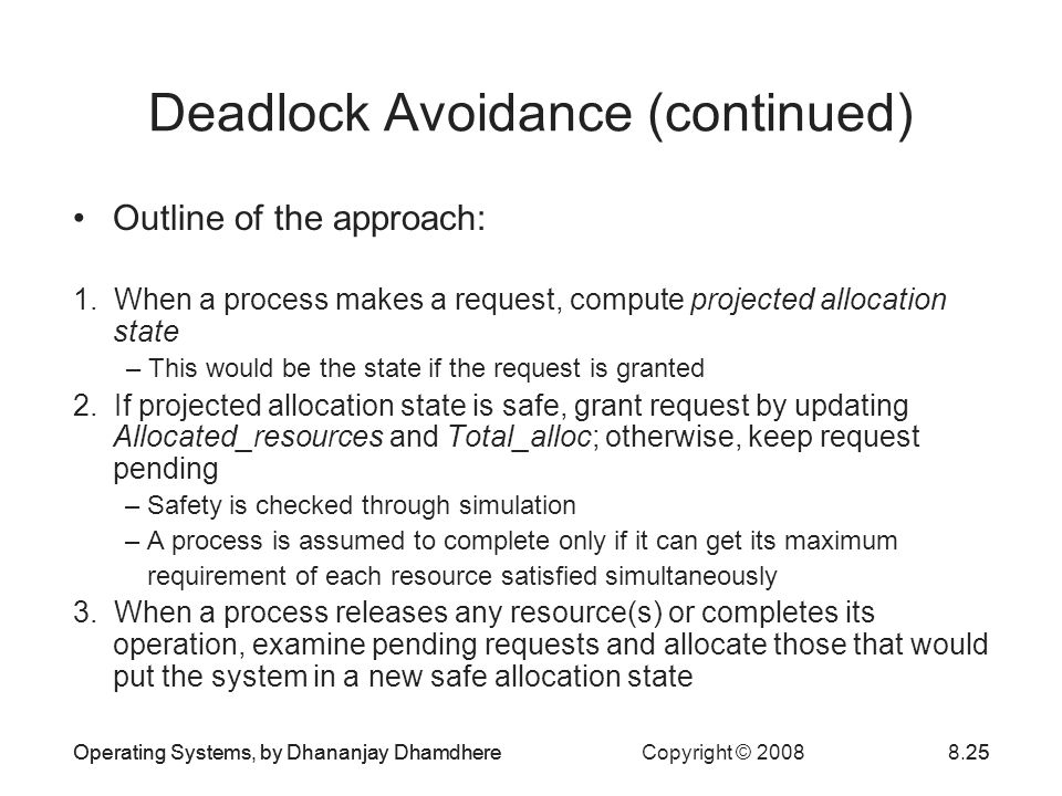Operating Systems, by Dhananjay Dhamdhere Copyright © 20088.25Operating Systems, by Dhananjay Dhamdhere25 Deadlock Avoidance (continued) Outline of the approach: 1.