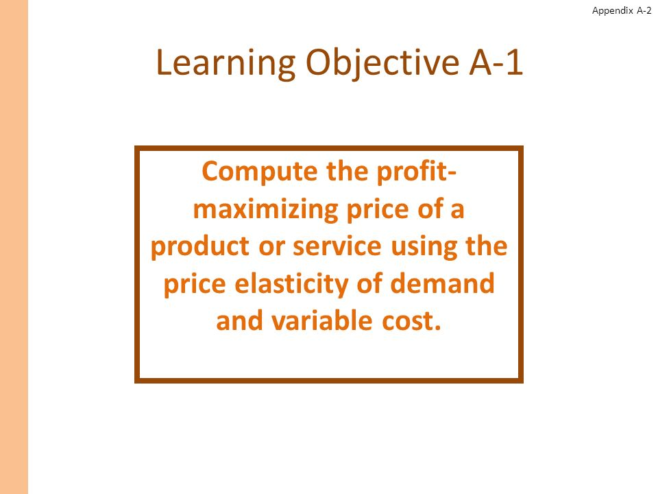Appendix A-13 The Profit-Maximizing Price Lets determine the profit-maximizing price for the apple-almond shampoo sold by Natures Garden.