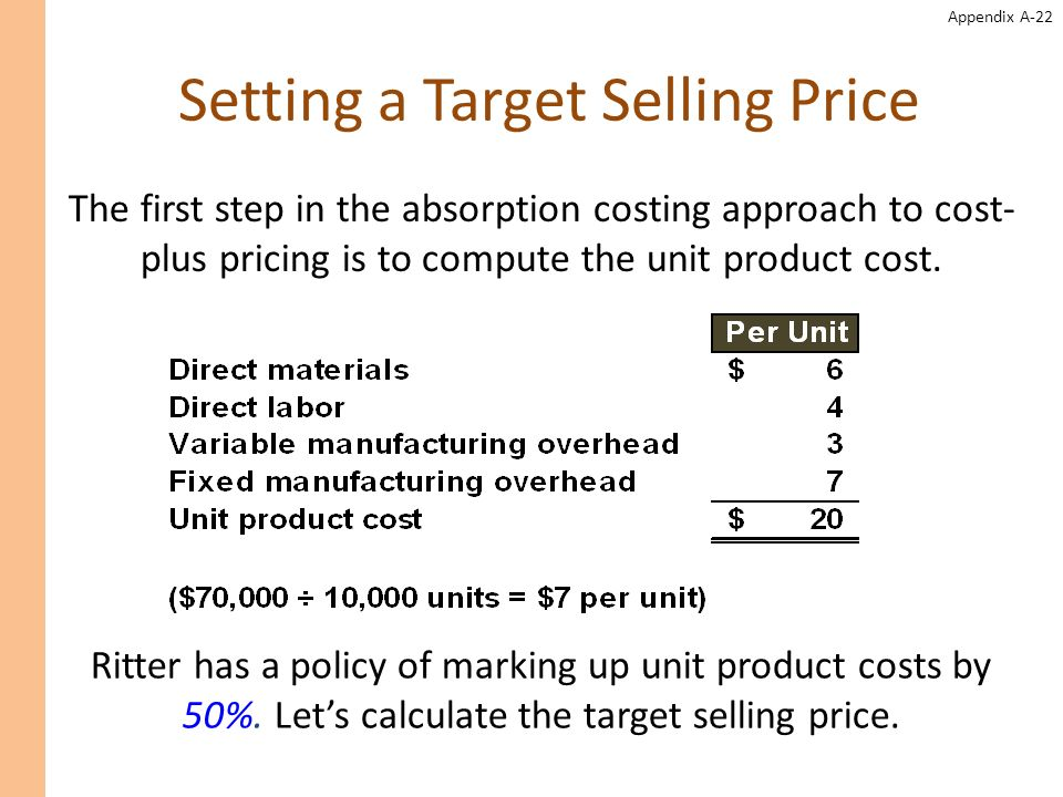 Appendix A-22 Setting a Target Selling Price Ritter has a policy of marking up unit product costs by 50%. Lets calculate the target selling price. The