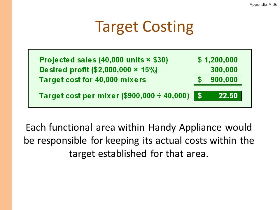 Appendix A-36 Target Costing Each functional area within Handy Appliance would be responsible for keeping its actual costs within the target establish