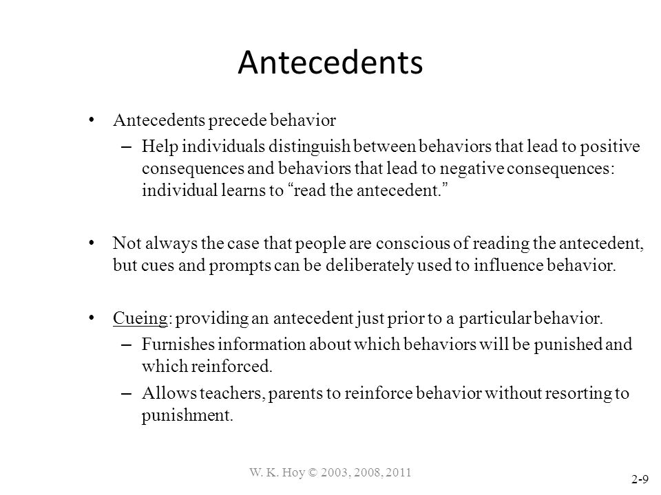 2-9 Antecedents Antecedents precede behavior – Help individuals distinguish between behaviors that lead to positive consequences and behaviors that le
