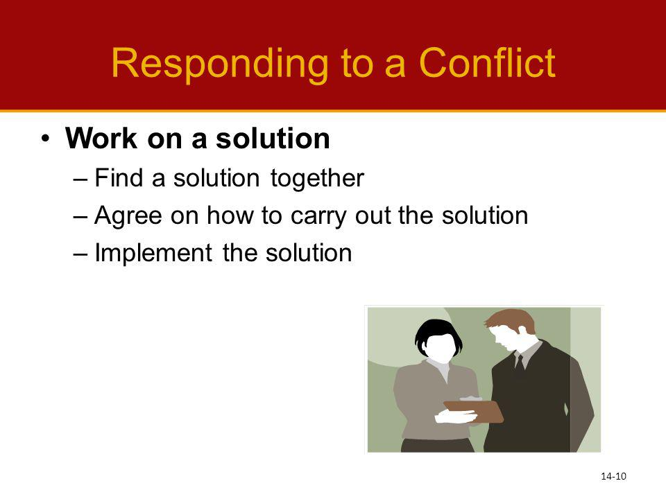 Responding to a Conflict Work on a solution –Find a solution together –Agree on how to carry out the solution –Implement the solution 14-10