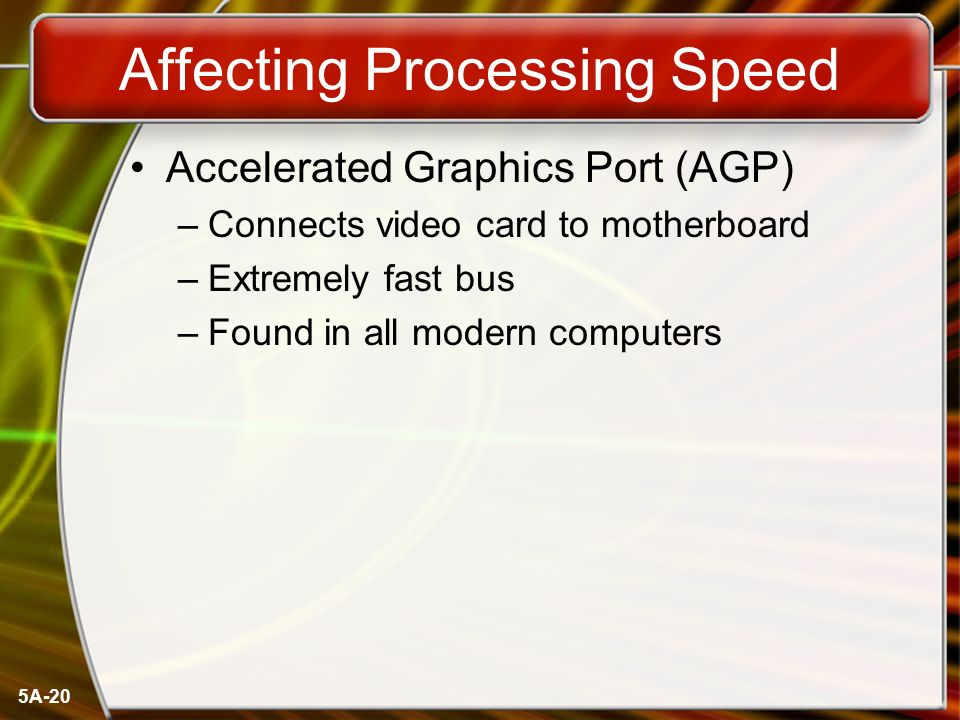 5A-20 Affecting Processing Speed Accelerated Graphics Port (AGP) –Connects video card to motherboard –Extremely fast bus –Found in all modern computers