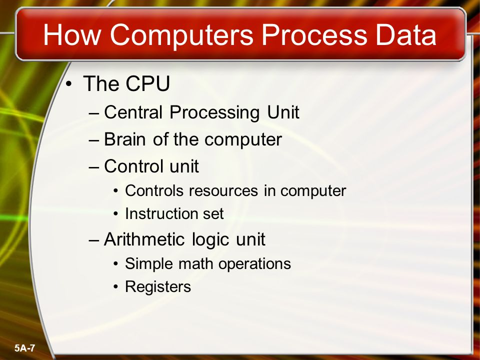 5A-7 How Computers Process Data The CPU –Central Processing Unit –Brain of the computer –Control unit Controls resources in computer Instruction set –Arithmetic logic unit Simple math operations Registers