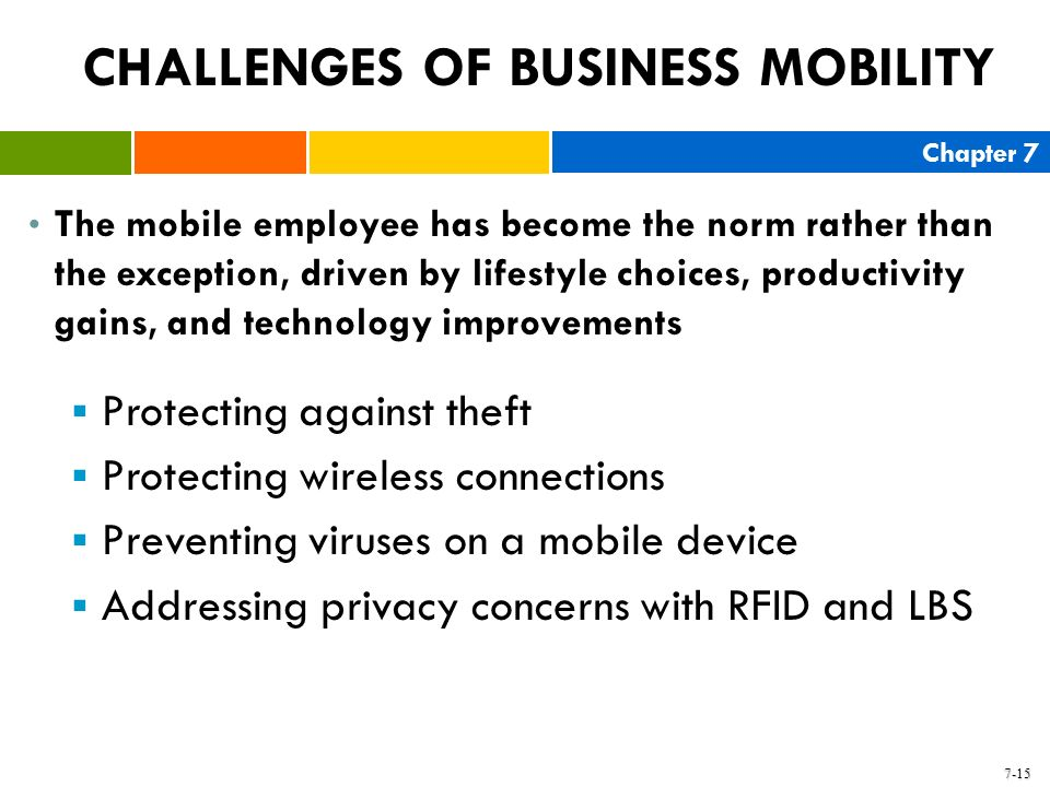 Chapter 7 7-15 CHALLENGES OF BUSINESS MOBILITY The mobile employee has become the norm rather than the exception, driven by lifestyle choices, product