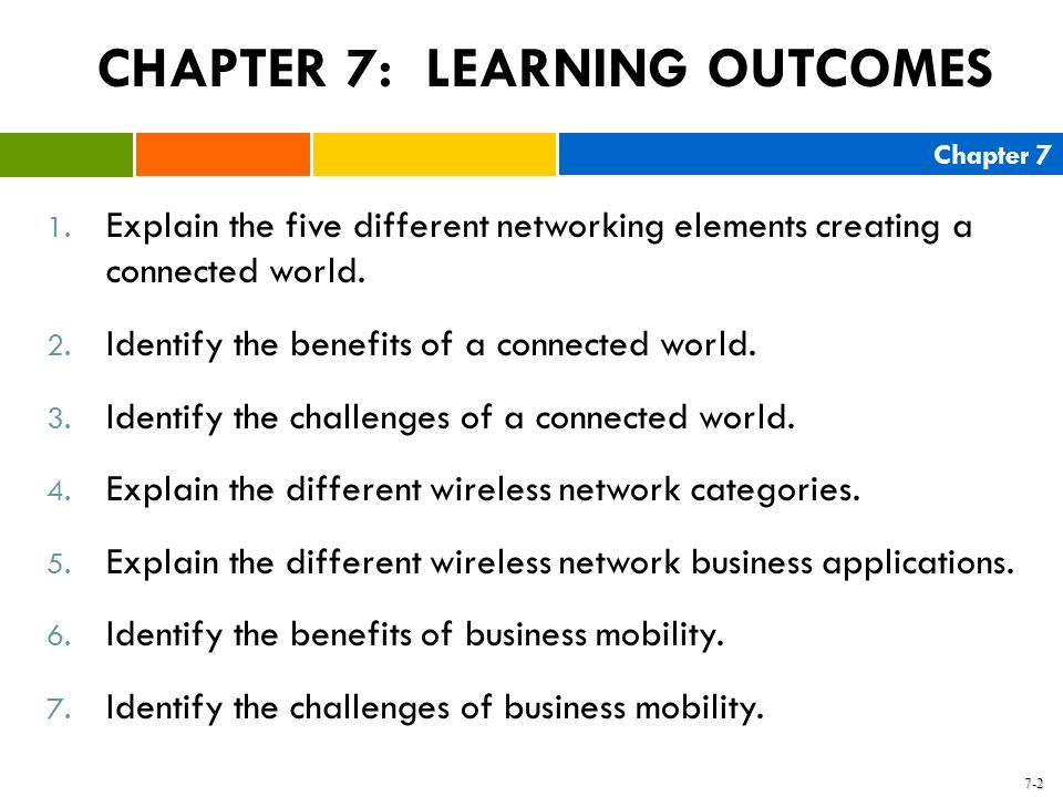 Chapter 7 7-2 1. Explain the five different networking elements creating a connected world. 2. Identify the benefits of a connected world. 3. Identify