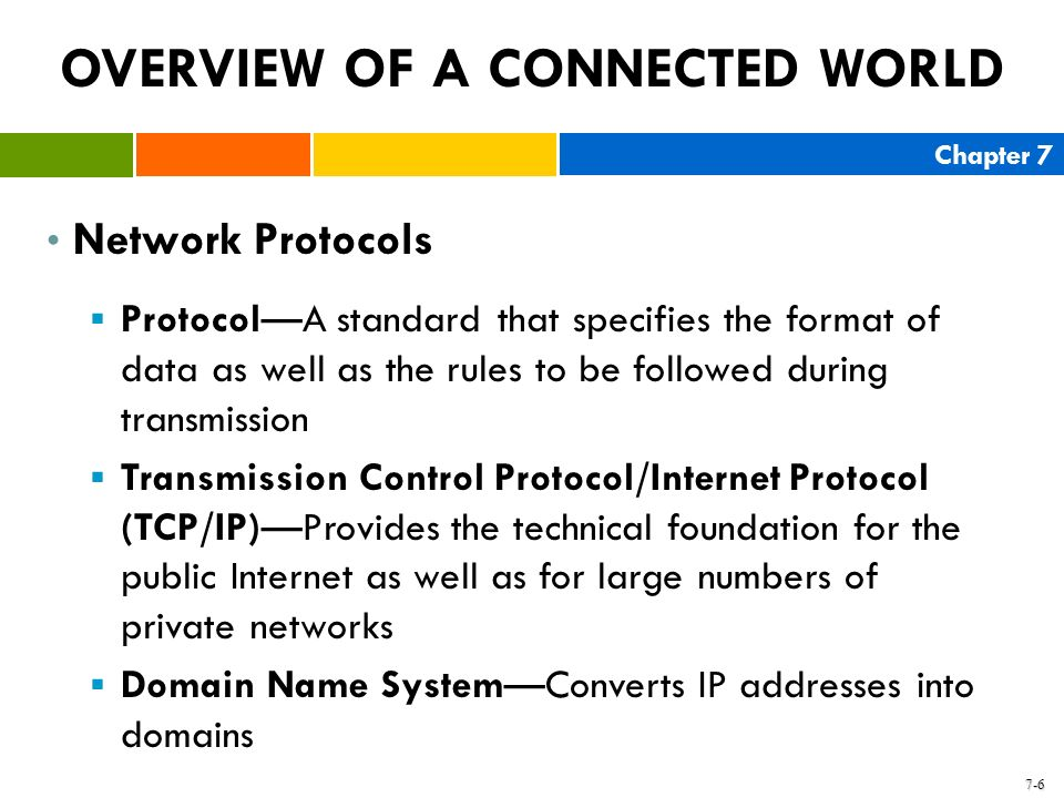 Chapter 7 7-6 OVERVIEW OF A CONNECTED WORLD Network Protocols ProtocolA standard that specifies the format of data as well as the rules to be followed
