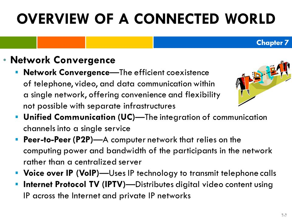 Chapter 7 7-7 OVERVIEW OF A CONNECTED WORLD Network Convergence Network ConvergenceThe efficient coexistence of telephone, video, and data communicati