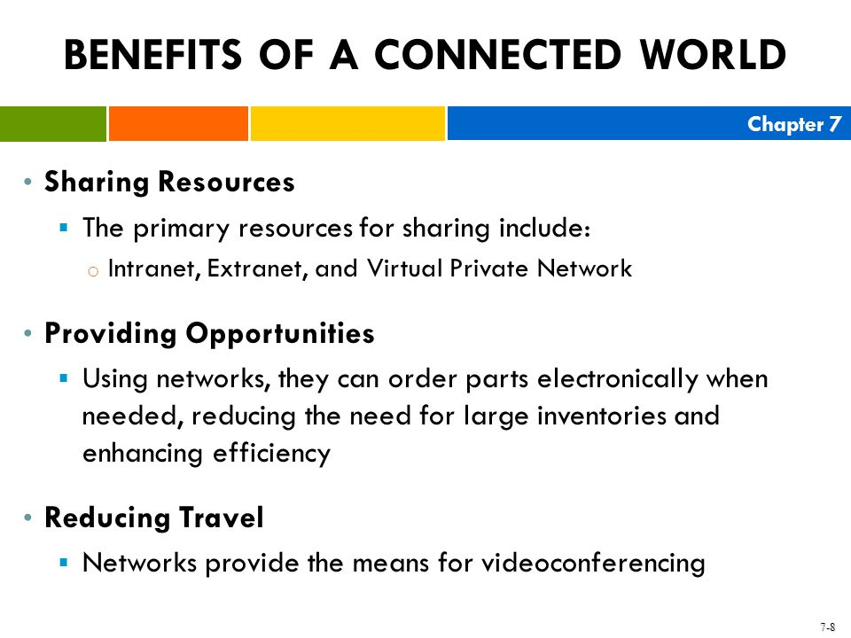 Chapter 7 7-8 BENEFITS OF A CONNECTED WORLD Sharing Resources The primary resources for sharing include: o Intranet, Extranet, and Virtual Private Net