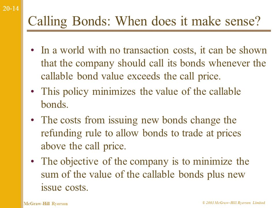 20-13 McGraw-Hill Ryerson © 2003 McGraw–Hill Ryerson Limited Callable Bonds versus Noncallable Bonds Most bonds are callable; some sensible reasons for call provisions include: taxes, managerial flexibility, and the fact that callable bonds have less interest rate risk.