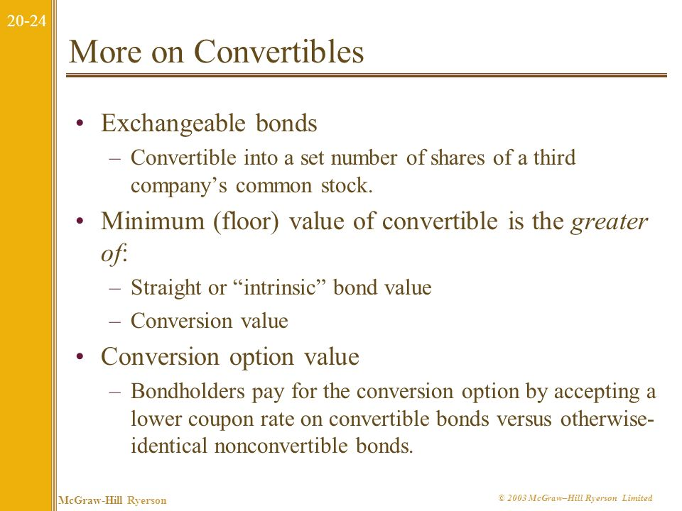 20-23 McGraw-Hill Ryerson © 2003 McGraw–Hill Ryerson Limited Example of a Convertible Bond