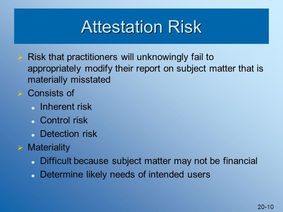 20-10 Attestation Risk Risk that practitioners will unknowingly fail to appropriately modify their report on subject matter that is materially misstat
