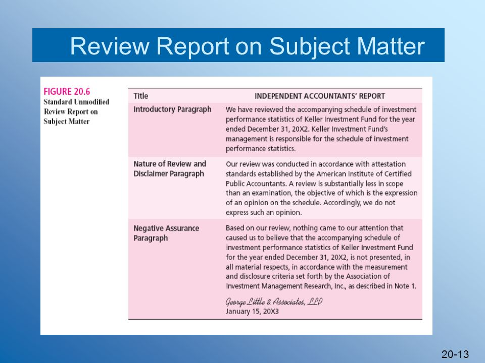 20-13 Review Report on Subject Matter