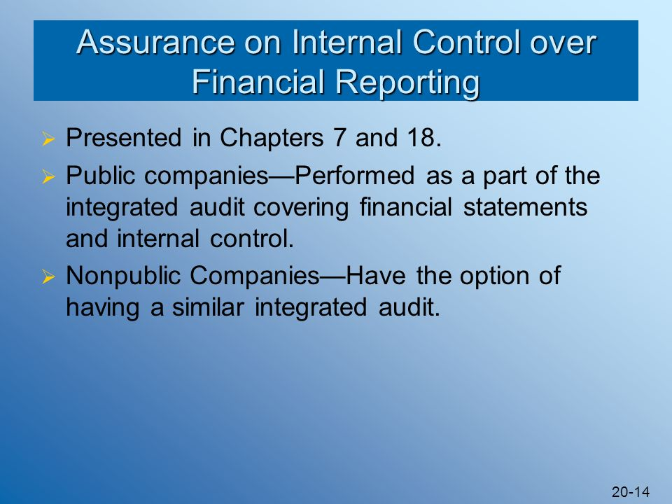 20-14 Assurance on Internal Control over Financial Reporting Presented in Chapters 7 and 18. Public companiesPerformed as a part of the integrated aud