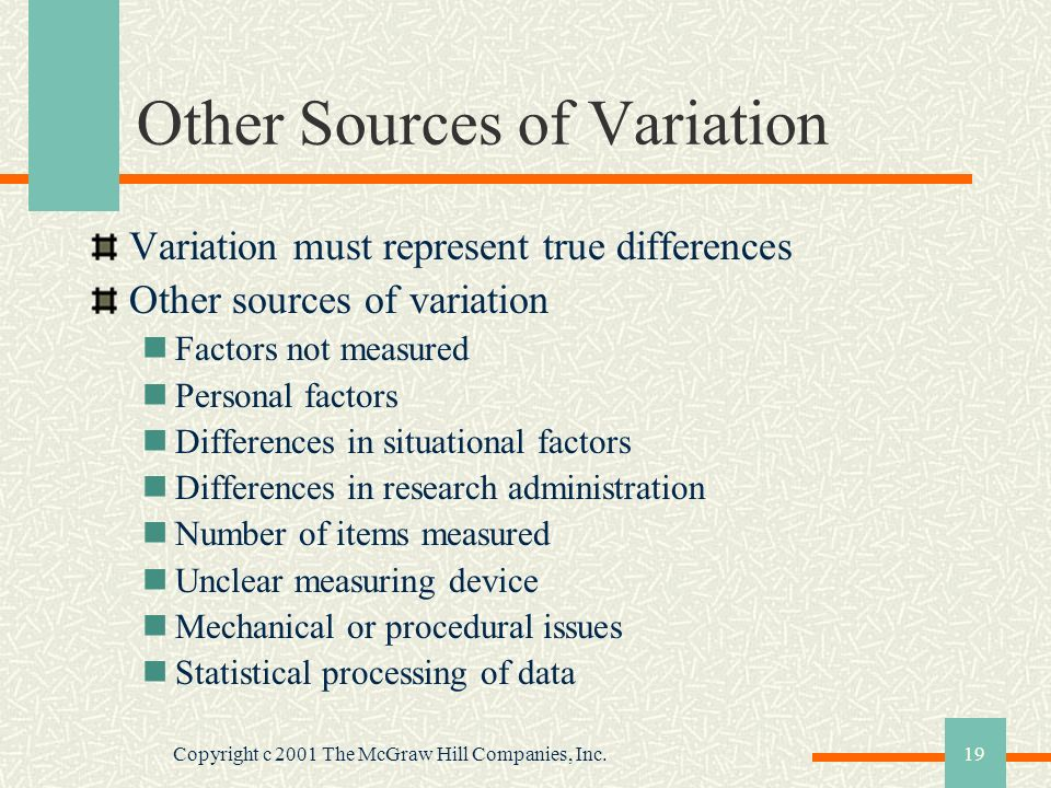 Copyright c 2001 The McGraw Hill Companies, Inc.19 Other Sources of Variation Variation must represent true differences Other sources of variation Fac