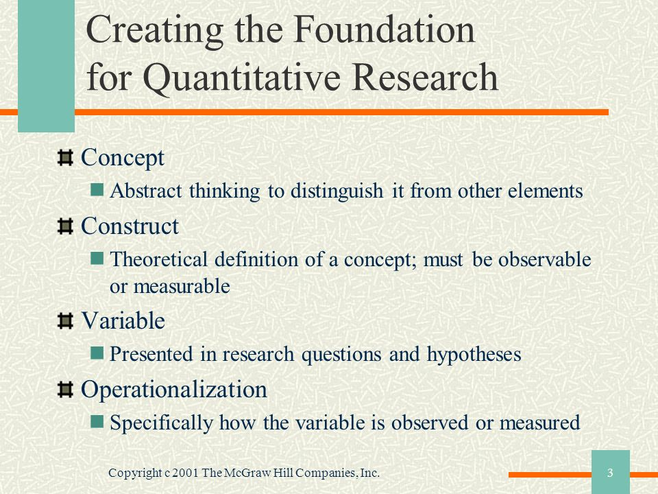 Copyright c 2001 The McGraw Hill Companies, Inc.4 Research Hypotheses for Quantitative Research Educated guess or presumption based on literature States the nature of the relationship between two or more variables Predicts the research outcome Research study designed to test the relationship described in the hypothesis