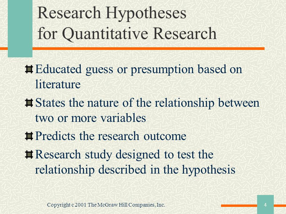 Copyright c 2001 The McGraw Hill Companies, Inc.4 Research Hypotheses for Quantitative Research Educated guess or presumption based on literature Stat