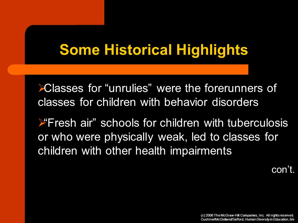 Classes for unrulies were the forerunners of classes for children with behavior disorders Fresh air schools for children with tuberculosis or who were