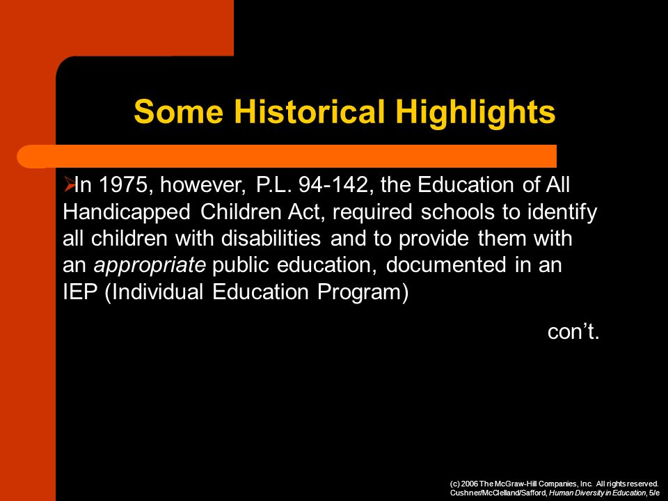In 1975, however, P.L. 94-142, the Education of All Handicapped Children Act, required schools to identify all children with disabilities and to provi