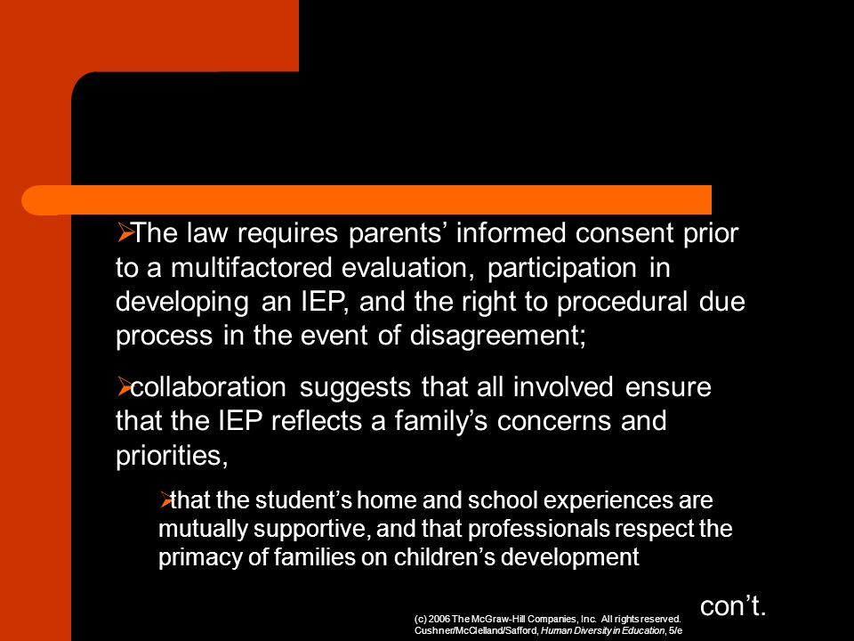 The law requires parents informed consent prior to a multifactored evaluation, participation in developing an IEP, and the right to procedural due pro