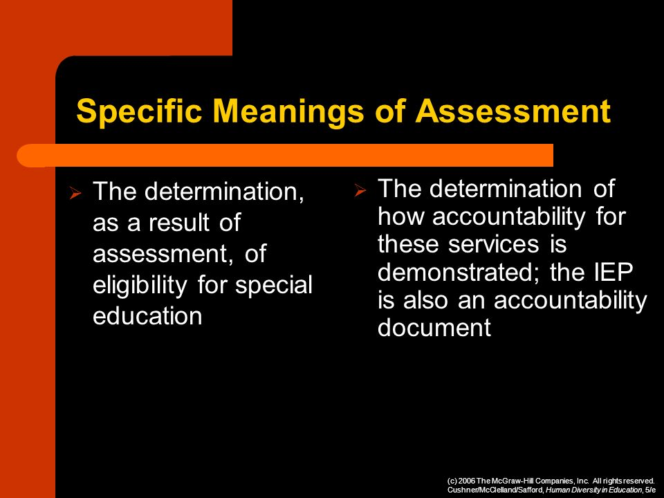 Specific Meanings of Assessment The determination, as a result of assessment, of eligibility for special education The determination of how accountabi