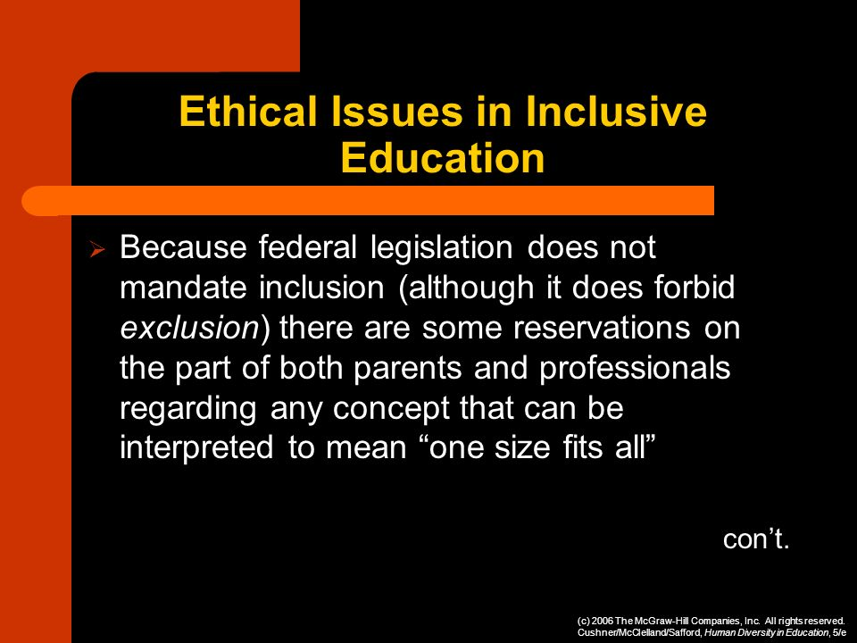 Ethical Issues in Inclusive Education Because federal legislation does not mandate inclusion (although it does forbid exclusion) there are some reserv