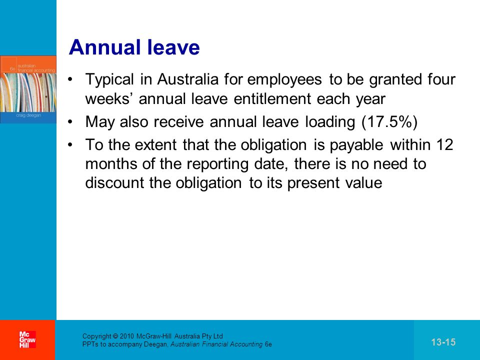 . Copyright 2010 McGraw-Hill Australia Pty Ltd PPTs to accompany Deegan, Australian Financial Accounting 6e 13-15 Annual leave Typical in Australia fo