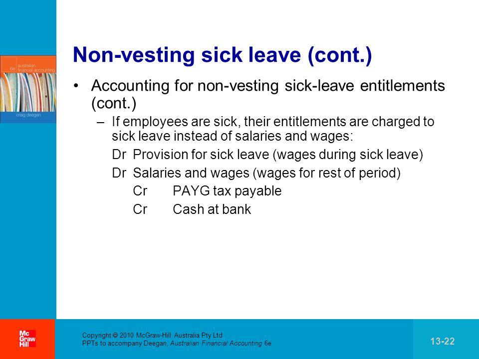. Copyright 2010 McGraw-Hill Australia Pty Ltd PPTs to accompany Deegan, Australian Financial Accounting 6e 13-22 Non-vesting sick leave (cont.) Accou