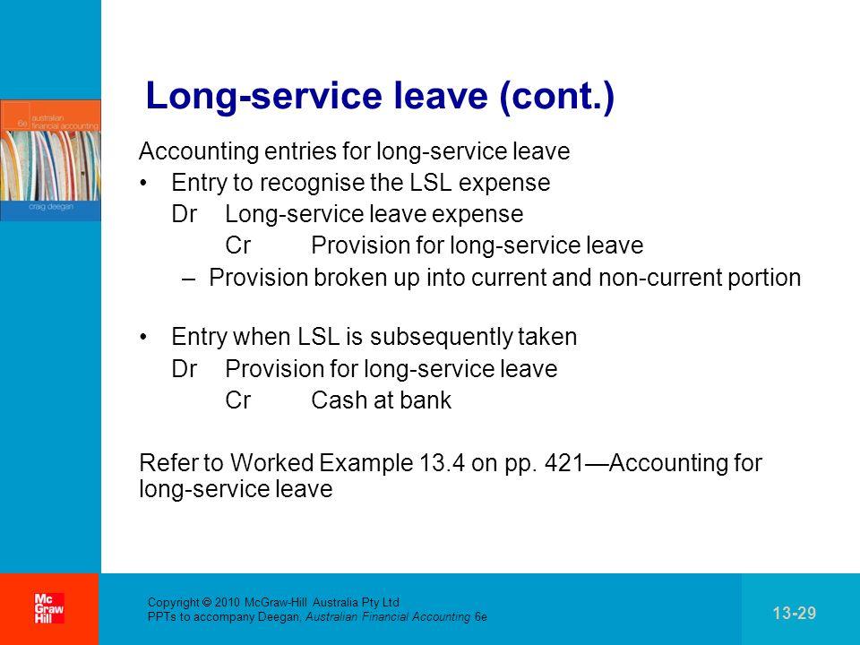 . Copyright 2010 McGraw-Hill Australia Pty Ltd PPTs to accompany Deegan, Australian Financial Accounting 6e 13-29 Long-service leave (cont.) Accountin