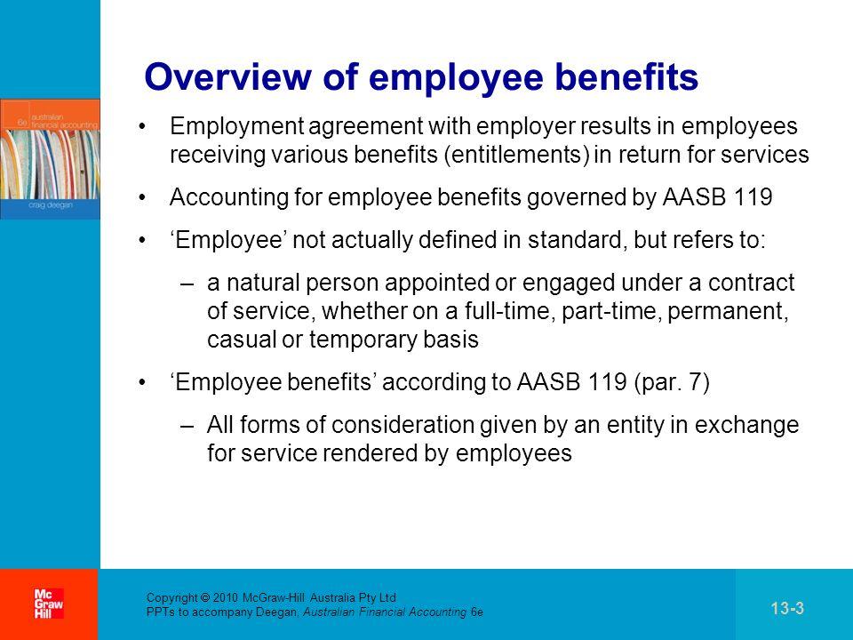 . Copyright 2010 McGraw-Hill Australia Pty Ltd PPTs to accompany Deegan, Australian Financial Accounting 6e 13-3 Overview of employee benefits Employm